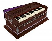 Old Indian harmonium isolated