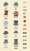 stock photo of mustache  - Hipster Retro Vintage Vector Icon Set - JPG
