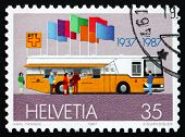 Postage Stamp Switzerland 1987 Bus And Flags