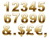 Shiny Gold Numbers and Symbols