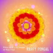 foto of pookolam  - illustration of Happy Pongal greeting background - JPG