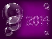 A transparent soap bubble background design with 2014 new year bubble lettering