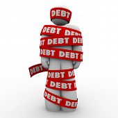 picture of overspending  - Debt Man Wrapped Tape Budget Deficit Problem - JPG