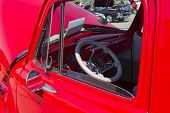 Red Chevy Antique Pick Up Truck Interior