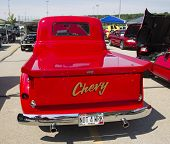 Red Chevy Antique Pick Up Truck Rear View