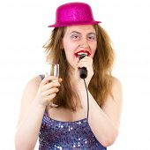 Woman Singing Karaoke And Drinking Sparkling Wine