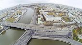 Big Ustyinsky Bridge, Moskva river and panorama of Moscow, Russia. View from unmanned quadrocopter