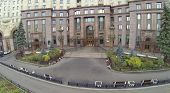 Entrance of house on Kotelnicheskaya Embankment in Moscow, Russia. It is one of seven Stalin skyscrapers. View from unmanned quadrocopter