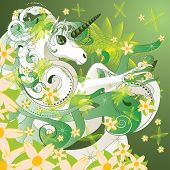 stock photo of unicorn  - White spring unicorn with flowers and floral on green background - JPG