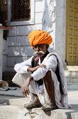 Old man with traditional rajput headdress - turban at Pushkar,India