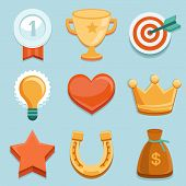 Vector Flat Gamification Icons. Achievement Badges