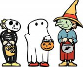 pic of moaning  - Three kids in Halloween Costumes and candy bags - JPG