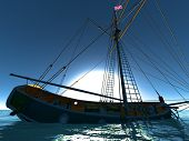 image of brigantine  - Pirate brigantine out on sea - JPG