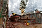 picture of shipbuilding  - Repair of the vessel at the dock - JPG