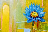 Original Oil Paintings On Canvas. Lily In Blue.