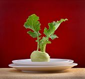 picture of kohlrabi  - kohlrabi on plate - JPG