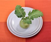 stock photo of kohlrabi  - kohlrabi on plate - JPG