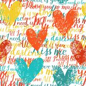 Stylish concept seamless pattern made of hearts and romantic handwritten words in vector. Seamless pattern can be used for wallpapers, pattern fills, web page backgrounds, surface textures.
