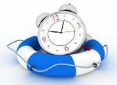 Concept of time to be Safe. Alarm clock with Life Buoy on a white background