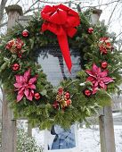 Christmas wreath in memory of the fallen firefighter Gregory Saucedo in Brooklyn, NY