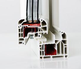 foto of white vinyl fence  - Plastic window profile - JPG