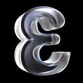 Símbolo do Epsilon em vidro (3d)