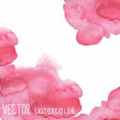 Pink watercolor grunge vector banner for your design.