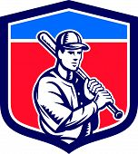 stock photo of hitter  - Illustration of a american baseball player batter hitter holding bat on shoulder set inside crest shield done in retro style on isolated background - JPG