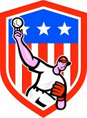 Baseball Pitcher Throw Ball Shield Cartoon