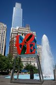 PHILADELPHIA - MAY 25, 2014: Love Park in Philadelphia. Close up of the park's