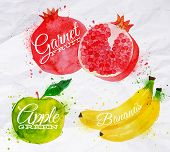 Fruit watercolor watermelon, banana, pomegranate, apple green