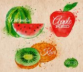 image of plum fruit  - Fruit set drawn watercolor blots and stains with a spray watermelon - JPG