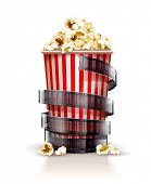 Paper container full of popcorn. Eps10 vector illustration. Isolated on white background