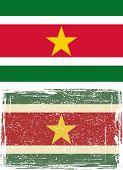 Suriname grunge flag. Vector illustration.