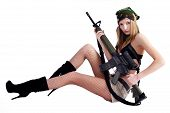 Pretty woman with sniper rifle