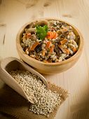 barley risotto with mushrooms and carrot