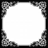 foto of scrollwork  - Vintage scrollwork page ornaments with leaf and scroll details for copy space or frame borders great for a wedding invitation - JPG