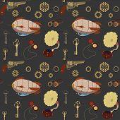 Seamless steampunk retro pattern