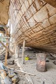 stock photo of shipbuilding  - Image of traditional handiwork shipbuilding Sur Oman - JPG