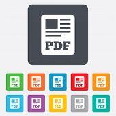 PDF file document icon. Download pdf button.