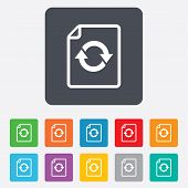 File document refresh icon. Reload doc symbol.