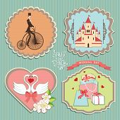 Cute Label Set With Wedding Elements.retro