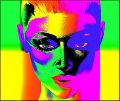 Colorful pop art image of a woman's face