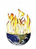 Global Warming Of The Earth With Flameson White