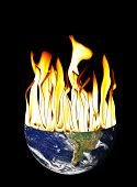 Global Warming Of The Earth With Flameson Black