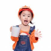 Asian Engineer Baby Girl Holding The White Mug