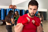 Boxing aerobox man portrait in fitness gym training workout