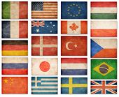 Grunge flags: USA, Great Britain, Italy, France, Denmark, Germany, Russia, Japan, Canada, Brazil, Tu