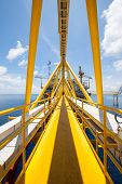 Platform construction in offshore, walk way to the building, Offshore oil and gas construction
