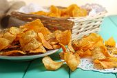 Homemade potato chips, close up
